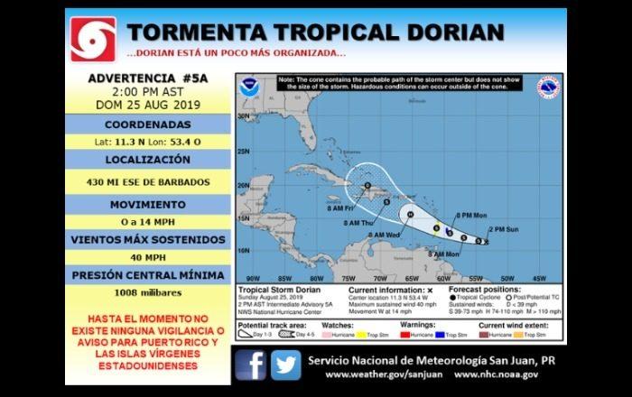 Informe de la tormenta tropical 2:00 pm. domingo