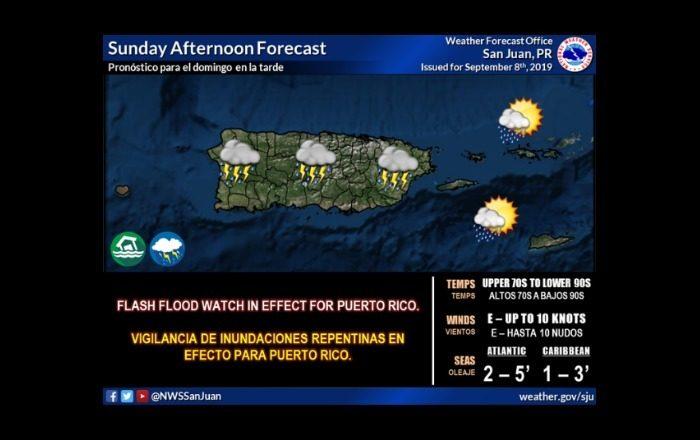 Emiten vigilancia de inundaciones hasta las 8:oo pm. del domingo